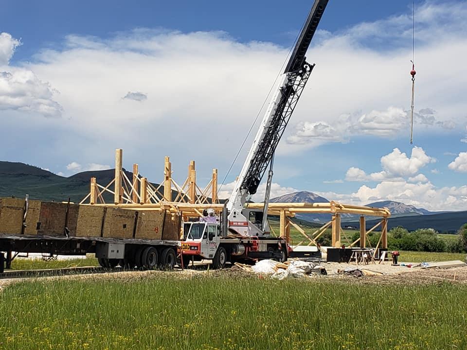 Crane Service for Colorado Log Home