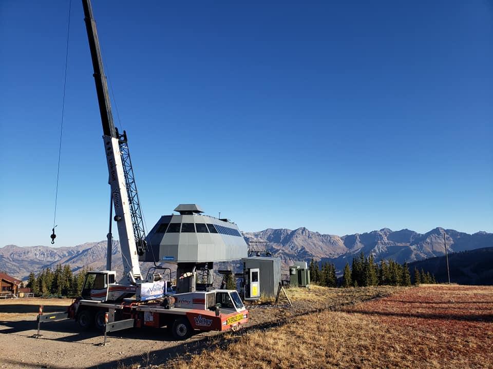 Cranes working on ski lift