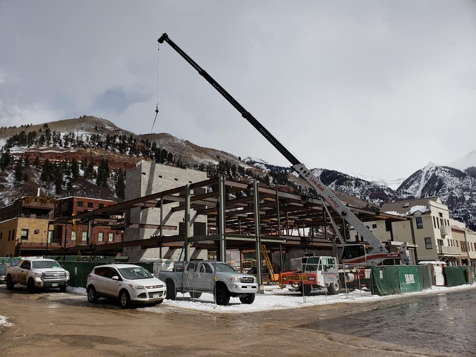 Mobile crane working in Telluride, CO